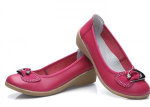 China Leather Casual Wedge Heel Rubber Bottom Shoes With Metal Buckle And Rhinestone on sale
