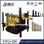 China crawler rock water well drilling rig, portable rock borehole drilling rig DFQ-200 wholesale
