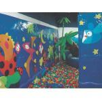 Diseño del mundo del mar de la pared del patio de los niños que sube en guardería