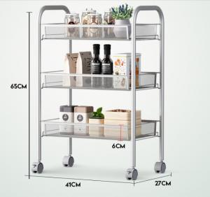 China Silver Kitchen Basket Rolling Cart Wire Storage Shelves With Wheels 11 Deep on sale