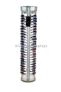 China Rotating Eyewear Store Sunglasses Display Racks With Wood Base Metal Rod on sale