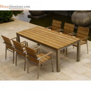 China Hotel Outdoor Restaurant Furniture Wooden Dining Chair with Metal Frame on sale