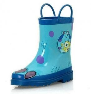 China blue shiny finish with lovely little monster print kid's rubber rain boots  on sale