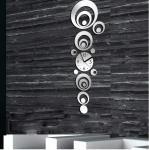 Reloj de plata del arte de la pared de los relojes de pared del espejo de la decoración DIY del hogar del reloj de pared del círculo 3D del vintage