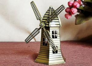 China Miniature DIY Craft Gifts World Famous Building Model Brass Dutch Windmill Replica on sale