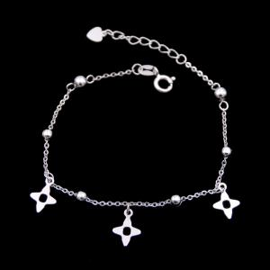 China Clover Shape Plain Silver Bracelet 925 Sterling Silver Jewelry Bracelets Charms on sale