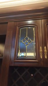 China Leaded glass cabinet door insert  brass came on sale