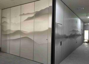 China Graphic Finishing 53dB Soundproof  Top Hung Movable Partition Walls For Hotel and Restaurant on sale