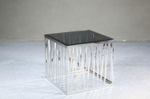 Quality Modern Square Coffee Table , Black Tempered Glass End Tables , square glass for sale