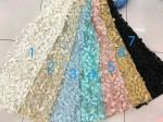 3D Flower Multi Colored Lace Fabric For Show / Embroidered Sequin Lace Fabric