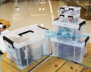China eco-friendly transparent plastic container multipurpose storage box for home, Clear Box with a White Lid and Black Latch on sale