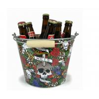 CMYK Tin Ice Bucket Tongs , Galvanized Beer Bucket 5L Volume