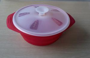 China Red Food Grade Collapse silicone Storage Bowl with Lid For Sillicon Kitchenware on sale