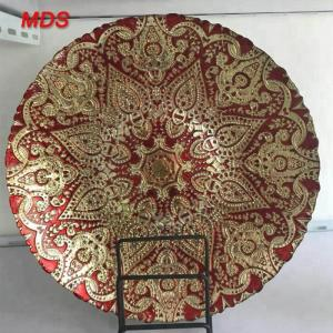 China Artificial dark gold and red antique glass dessert plate charger plate on sale