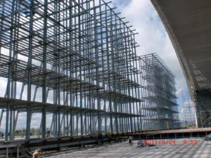 China Q345B-Big Span Prefabricated  H Type Metal Frame Structure For Gymnasium Project on sale