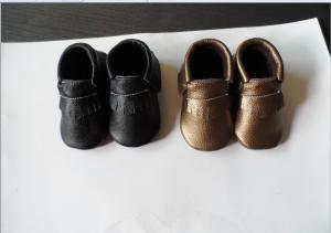 China moccasin leather baby shoe black and gold on sale