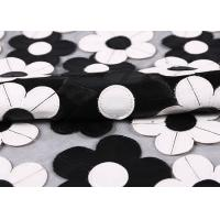 Customization Embroidery PU Mesh Lace Fabric With Black And White Flower