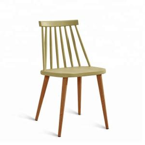 China High Back Plastic Dining Chairs Arc Design With Wood Print Transfer Iron Legs on sale
