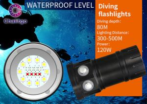 China 80M Marine Flash Torch Flashlight For Diving 10000LM Cree Button Switch 120 Degree Beam Angel on sale