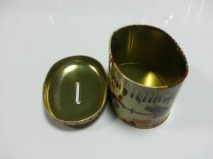 China Cartoon Oblong Metal Tin Coin Box For Money Saving Painted Containers on sale