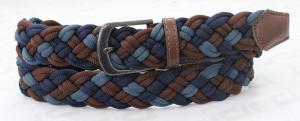 China Mixed Colors Polyester / PU Mens Blue Braided Belt , Old Silver Buckle Brown Braided Belt on sale