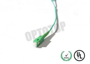 China Green PVC Housing Fiber Optic Pigtail Multimode OM1 2mm APC Interface Polish on sale