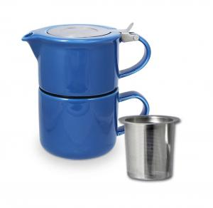 China Ceramic teapot set with stainless steel infuser and lid glossy glaze stoneware on sale