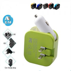 China 2 In 1 2 Port USB Car Charger Universal Portable Home Wall AC Power Adapter on sale