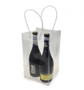 China Durable Clear Transparent PVC Champagne Wine Ice Bag Cooler Bag with Handle on sale