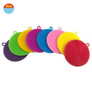 China Amazon's hot sale soft Antibacterial silicone wash sponge dish scrubber Cleaning Brush for kitchen on sale