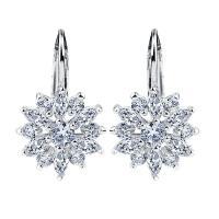 Shiny Silver Color Cubic Zirconia Jewelry Dangle Earrings , CZ Stone Jewellery