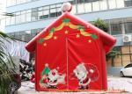 Red 0.45mm Plato PVC Tarpaulin Inflatable Christmas Santa House For Decoration