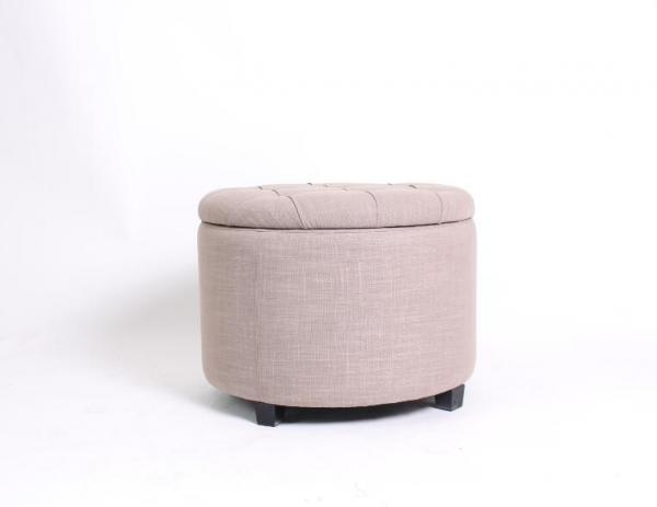 Swell Linen Fabric Wooden Folding Ottoman Round Upholstered Caraccident5 Cool Chair Designs And Ideas Caraccident5Info
