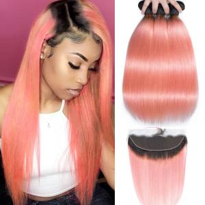 China Pink Front Ombre Human Hair Extensions Silk 10A Grade Tangle Free on sale