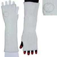 China 100% soft Acrylic White Long Knitted Arm Warmer Fingerless Gloves For Women on sale
