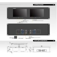 3RU Rack Mount Video Monitor , Rack Mount Dual Monitor with Metal Shell