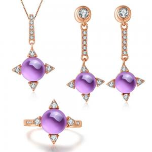China 925 Silver Natural Gemstone Jewelry Set Amethyst Ring Earrings Pendant Necklace on sale