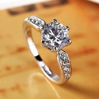 Excellent design top quality thin silver AAA zircon ring for engagment and panque