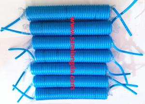 China PU spiral air coil tube with 1/4  NPT brass fitting, high spring ability recoil memory air hose, blue on sale