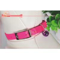 China Sparkle One Row Diamond Pink Nylon Pet Collar With Bell 1 / 2 W Adjustable 7-10 Neck on sale
