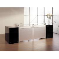 Morden design black and white  color MDF,top with  glass surface with wing shape look office reception desk BS-623RT
