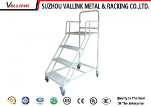 China Library 4 Step Movable Platform Ladders With Rail , Industrial Platform Step Ladders on sale