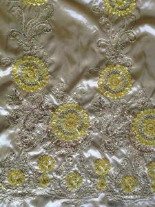 China Wedding Sequin Embroidered Fabric ,Silk Embroidered Sheer Fabric on sale