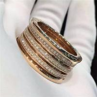 Bvlgari B.zero1 4-band ring in 18kt pink gold with pave diamonds AN857022