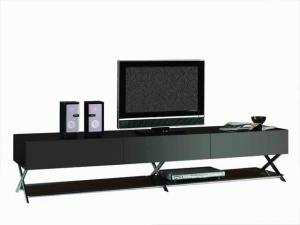 Quality Tempered Glass TV Stand Sitting Room Furniture , Black Glass Metal TV Cabinet , for sale