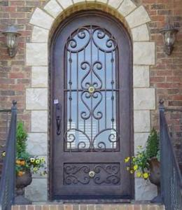 China Wrought Iron Door with round top on sale
