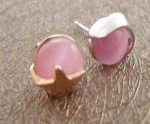 China Custom Elegant designs 925 sterling silver stud earrings with pink opal for women on sale