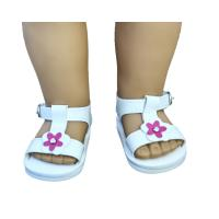 China White And Purple Flower Doll Sandals , American Girl Doll Sandals on sale