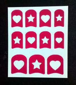 Quality Star Heart Pattern Nail Art Stencil Environment Friendly Ink And Glue For