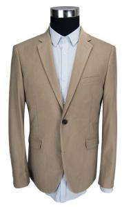 China Corduroy Mens Casual Blazer Jacket Beige Office Business Adults Breathable on sale